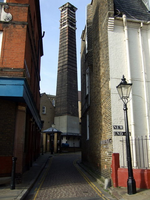 Old brick chimney in Streatley Place