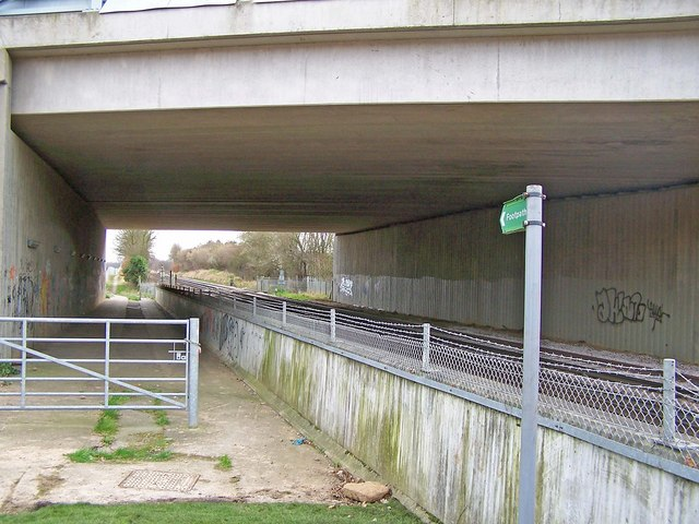 Footpath and railway under new bridge