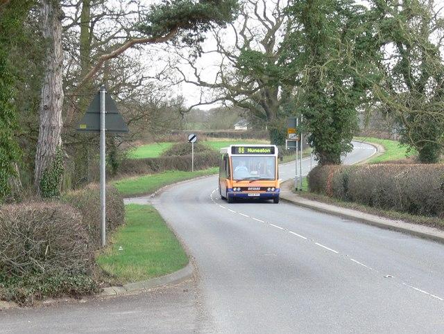 Stoke Road towards Hinckley