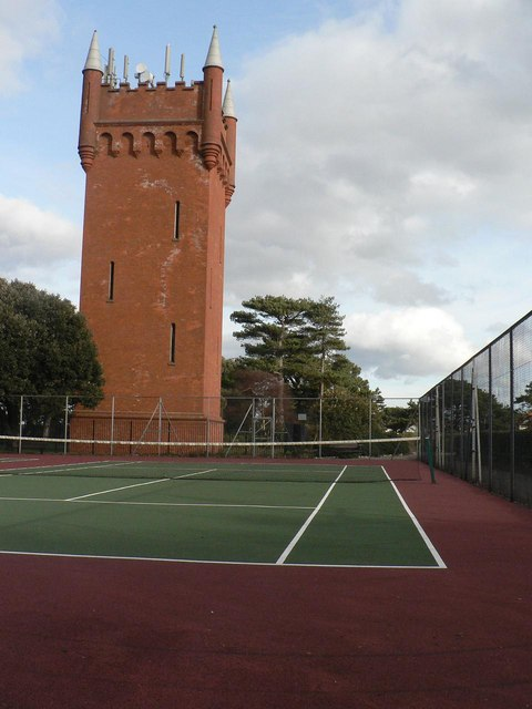 Seafield Gardens: tennis courts and water tower
