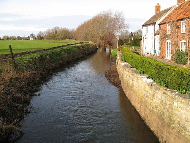River Sheppey in Upper Godney - facing west