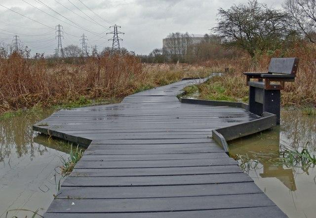 Raised walkway on the flooded Aylestone Meadows