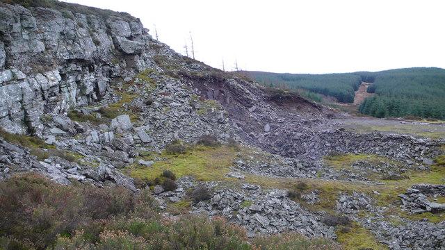 Rock outcrop at quarry edge