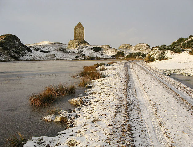 Smailholm Tower in winter