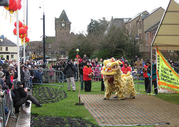 The Lion Dance in Bank Street, Galashiels