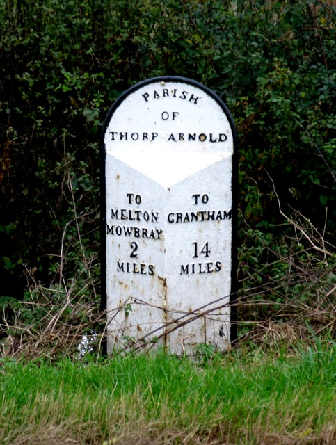 Mile post in Thorpe Arnold