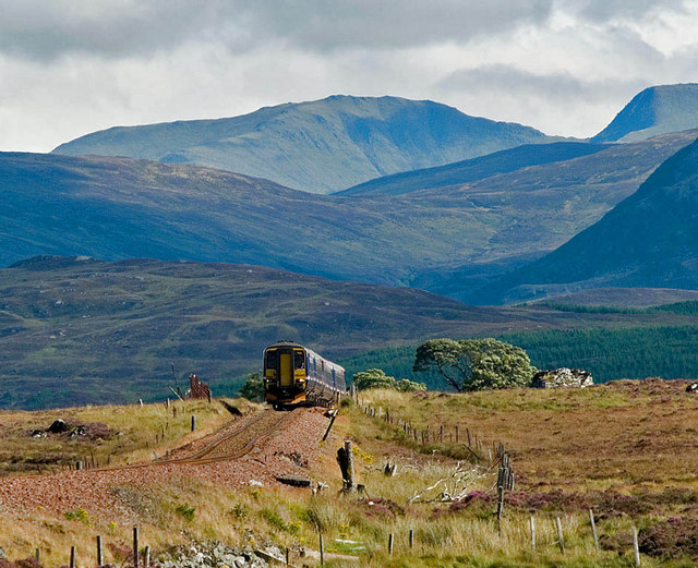 A Glasgow - Fort William train climbs onto Rannoch Moor