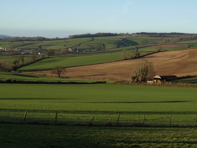 Fields and barn from Three Tree Lane