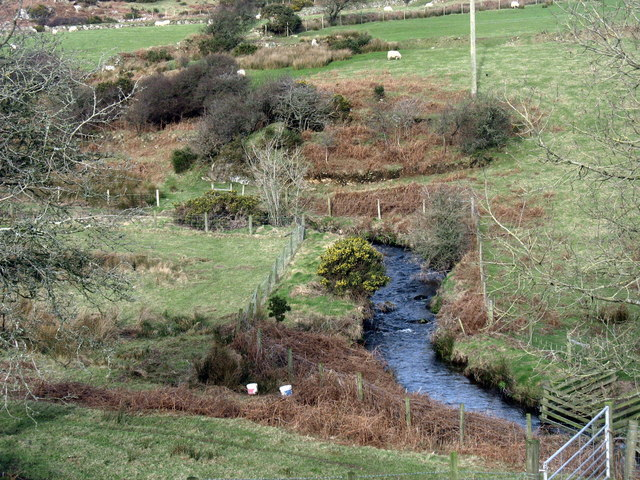 The incised meanders of Afon Rhyd-hir north of Melin Bodeilian