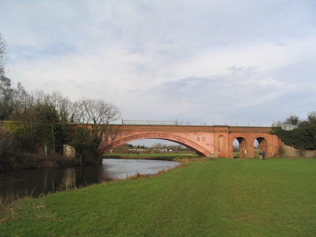 Victorian brick bridge over the Soar
