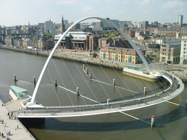 Millennium Bridge and Quayside from The Baltic