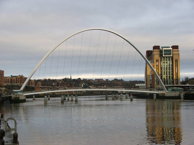 The Millennium Bridge and The Baltic viewed from Newcastle Quayside