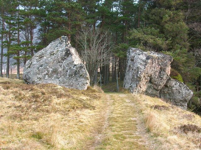 Boulders as you enter Pinewood