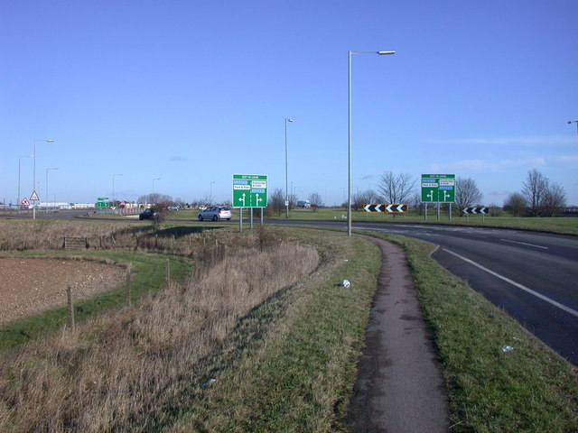 Approach to roundabout at M11 junction 11