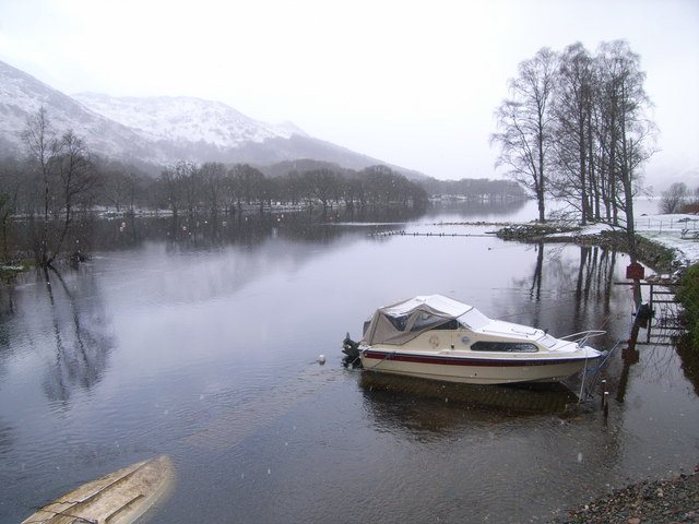 Looking across a snowy Loch Earn
