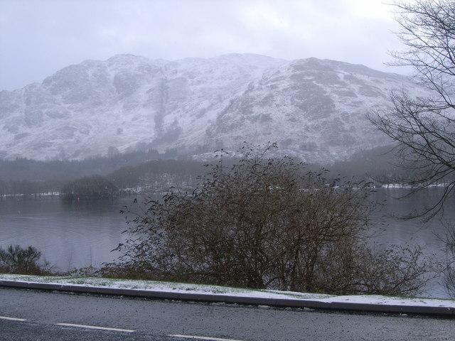 Looking across a snowy Loch Earn towards mountains