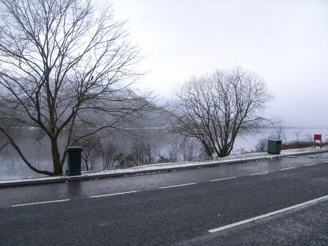 Looking across A85 and Loch Earn