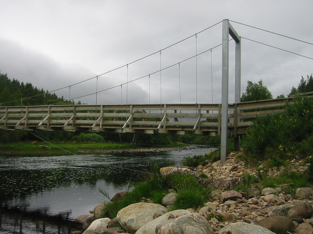 Suspension bridge over the River Brora (used by fishermen)