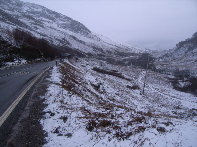 Looking down the A85