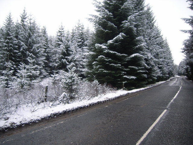 Looking along the A827 in snow