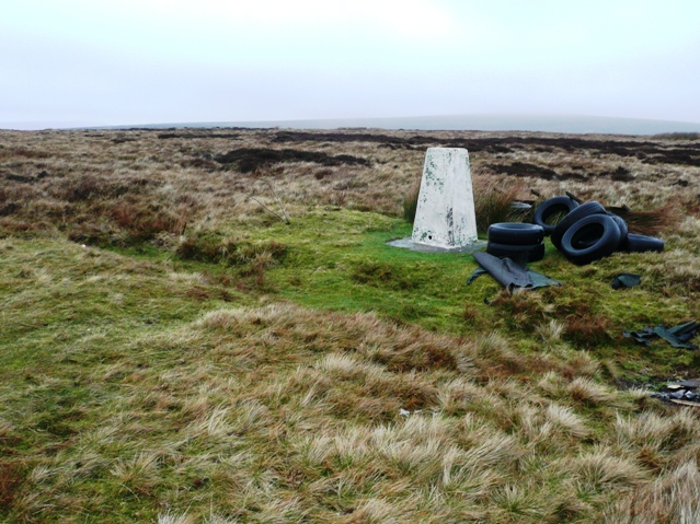 Tyres by the trig point
