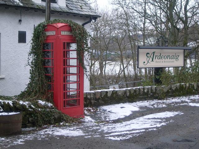 Ardeonaig Telephone Kiosk outside Ardeonaig Hotel