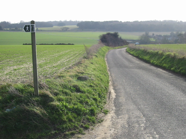 Looking SE along the road to Chillenden