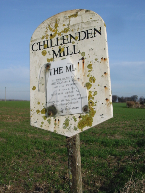 Lichen covered sign for Chillenden mill
