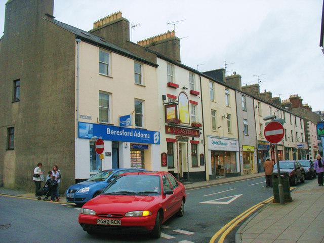 The north-western end of Pwllheli's High Street