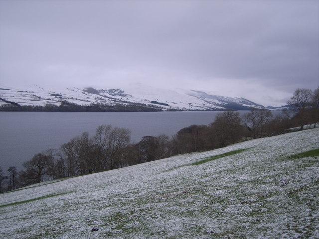 Loch Tay & snowy hillside