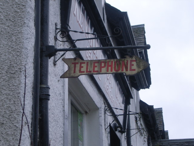 Telephone sign outside Kenmore Post Office