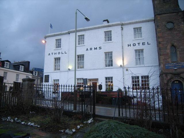 Atholl Arms Hotel with overcast sky