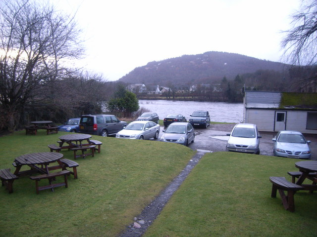 Atholl Arms Hotel car park and River Tay