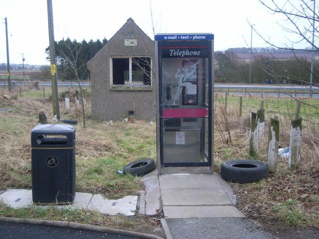 Fordoun derelict telephone exchange and kiosk
