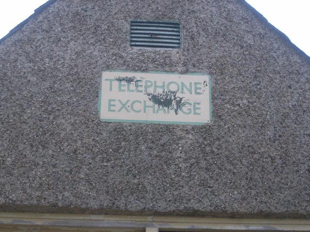 Telephone Exchange sign on Fordoun derelict exchange
