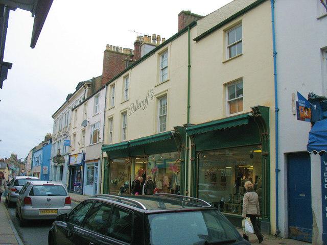 The north side of Pwllheli's High Street