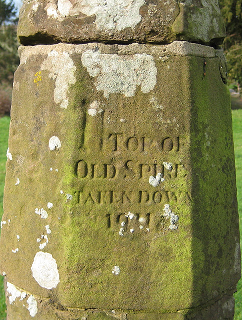Inscription on the old spire top, St Deinst, Llangarron