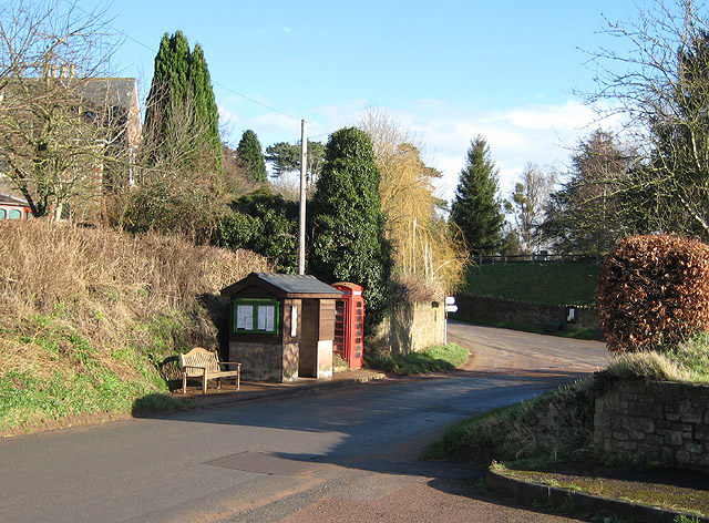 Phone box and tidy bus shelter, Llangarron