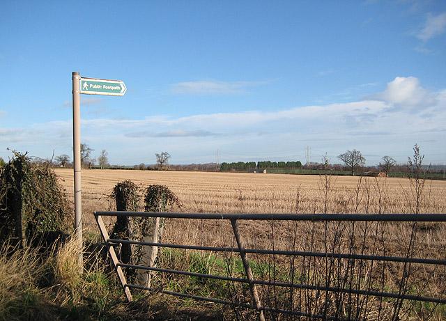 Footpath through stubble field