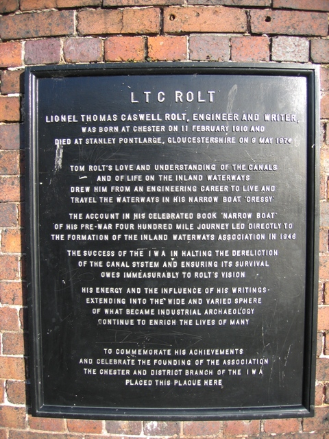 Plaque commemorating LTC Rolt
