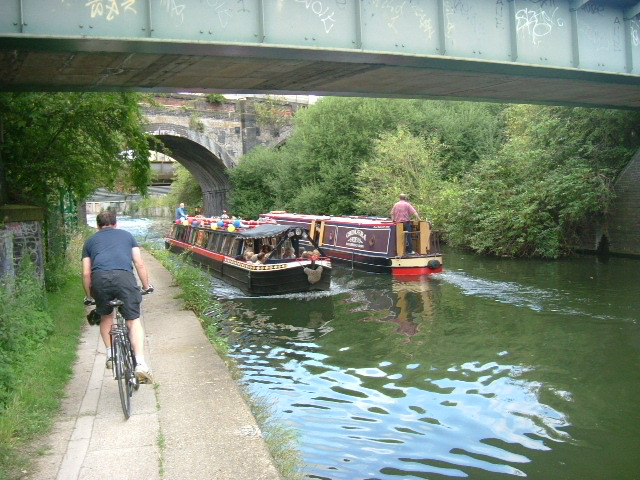 Traffic jam on the canal