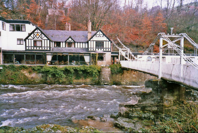 Chain Bridge and Chain Bridge Hotel, Berwyn