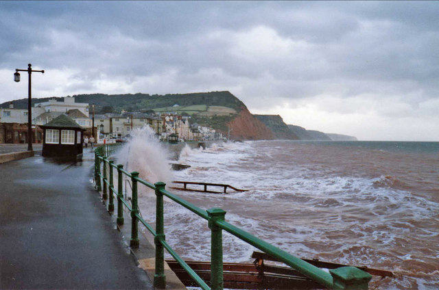 Sidmouth sea front at high tide