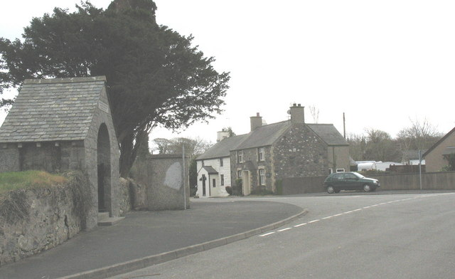 The road junction at the centre of Llannor