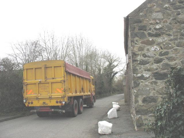 Heavy traffic on the main street of Llannor