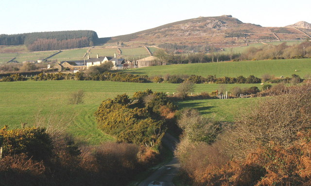 View across the valley towards Frochas Farm and the hills beyond