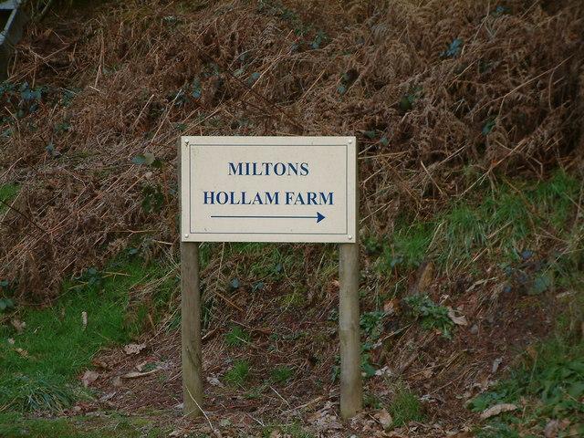 Signpost to Hollams Farm