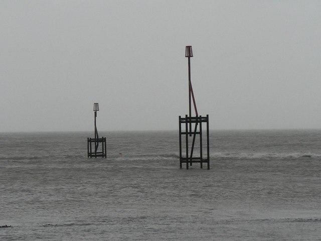 Bembridge: beacons at Ethel Point