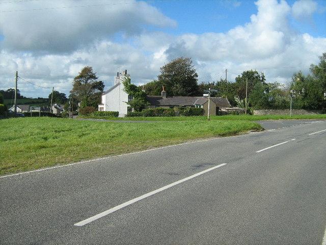 Road junction at Llansadwrn