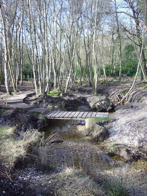 Stream and footbridge in Castle Bottom